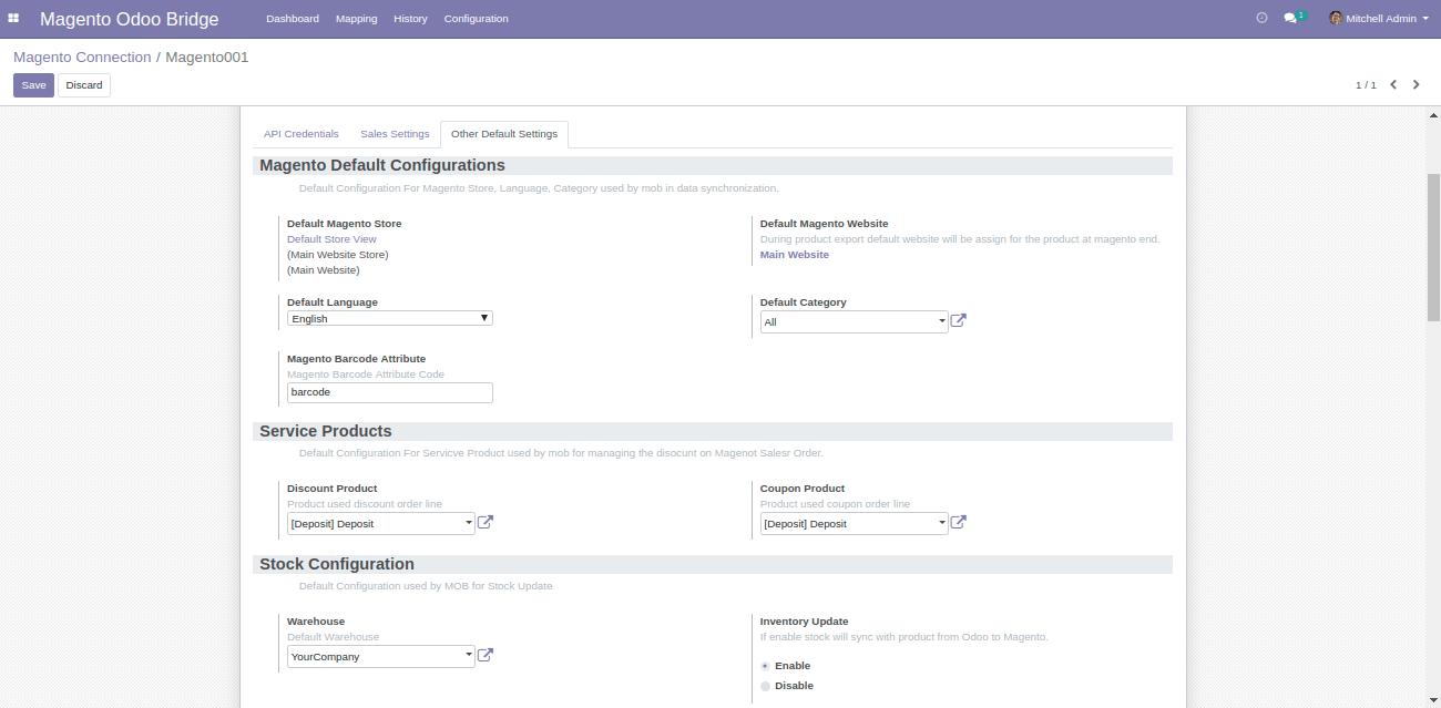 Synchronization settings in Default Setting Tab