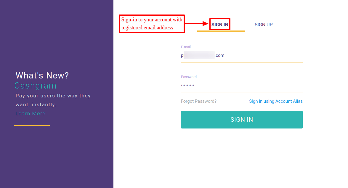 Signin to cashfree account