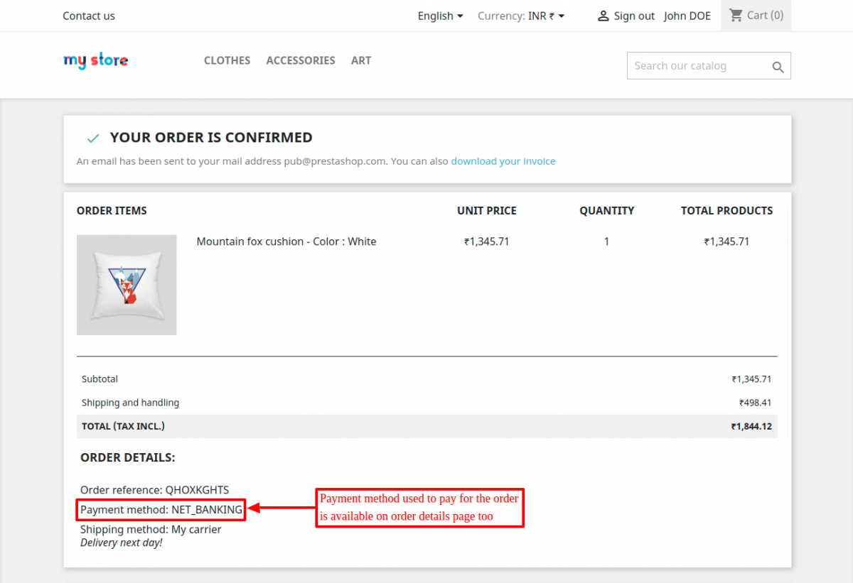 Order confirmation page