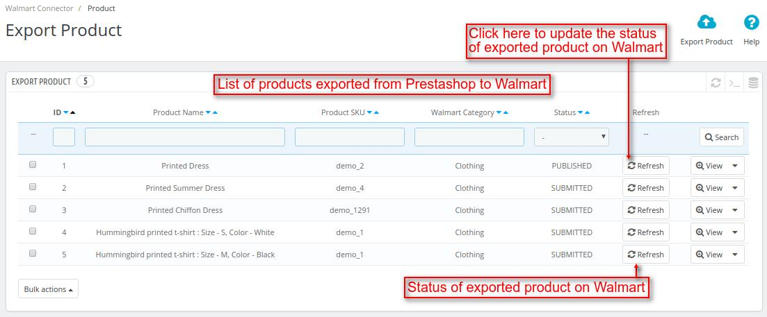 Export products from Prestashop to Walmart