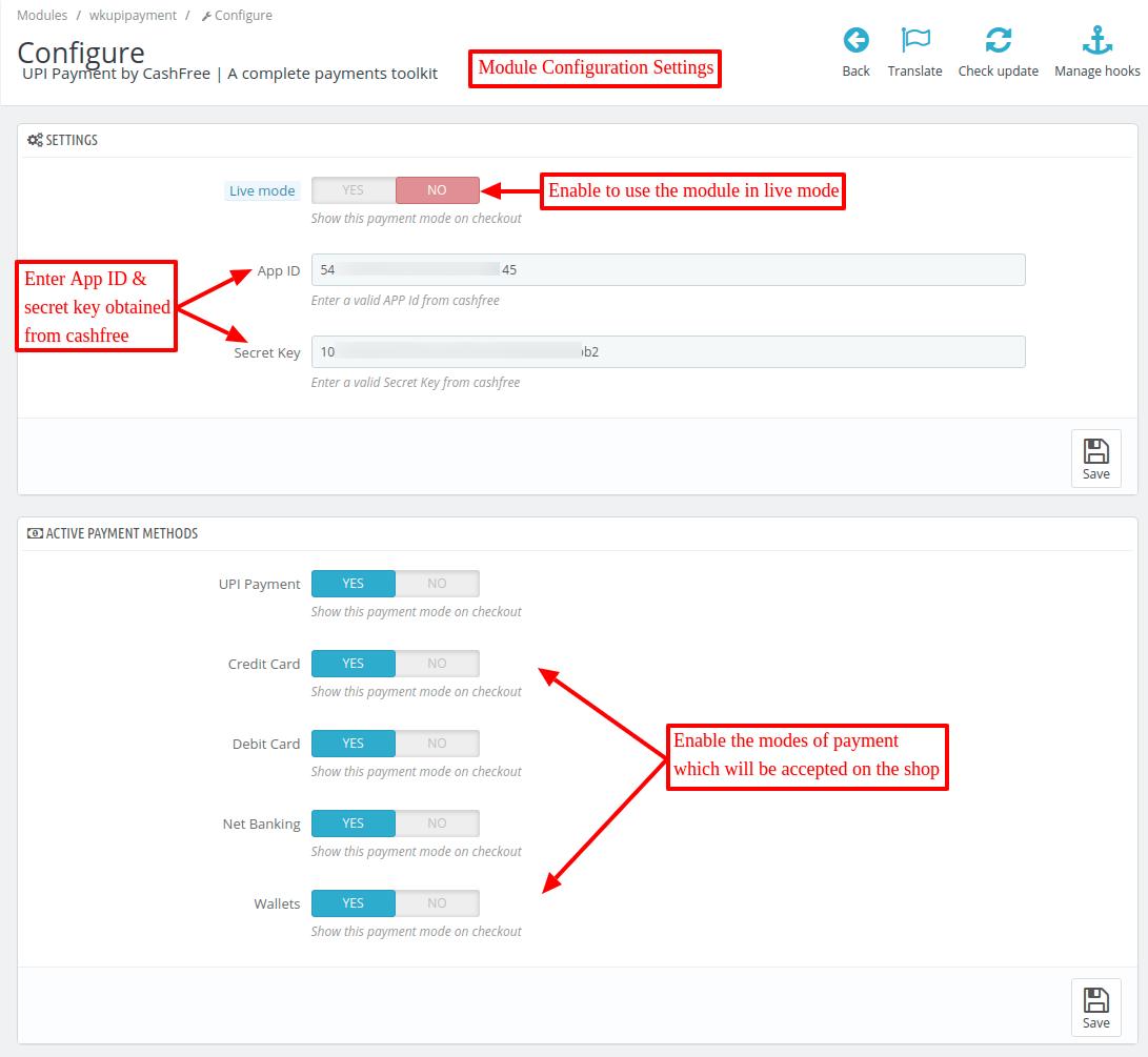 Configure Prestashop UPI payment module