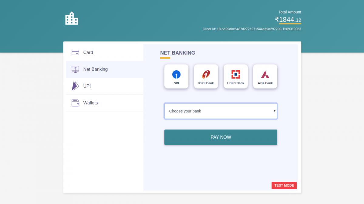 Select bank to pay via internet banking