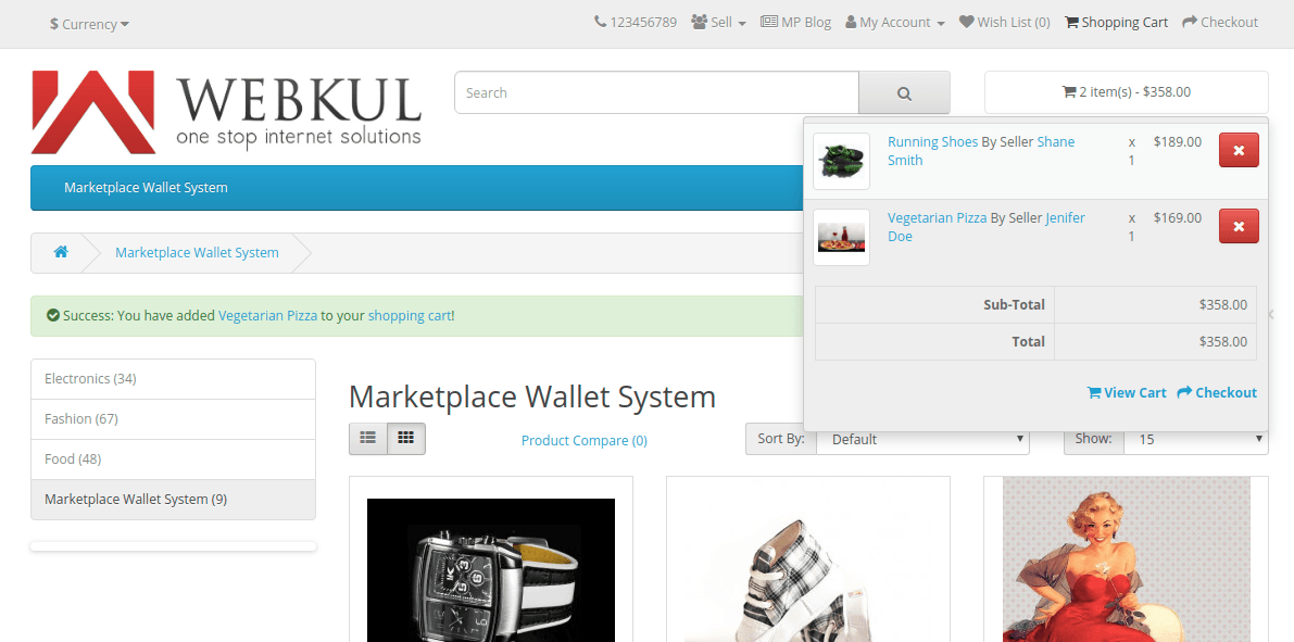 OpenCart Multi-Vendor Wallet System-Add product to cart