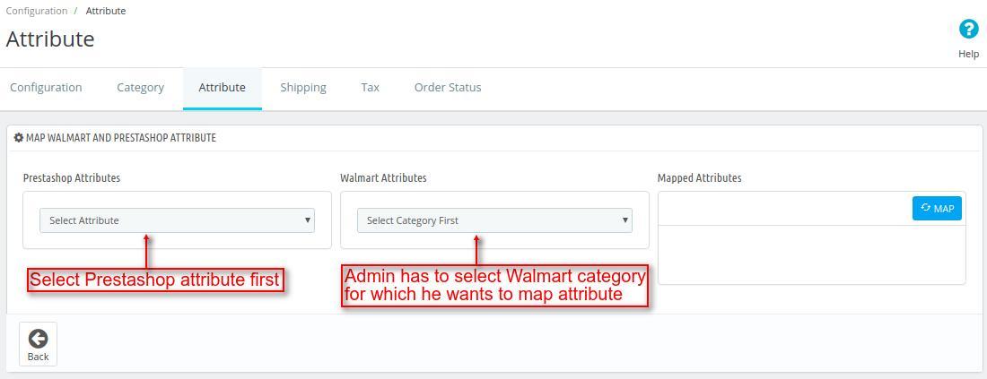 Map Prestashop attribute with Walmart attribute