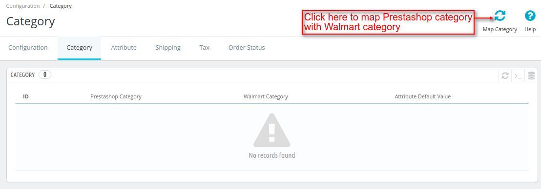 Map Prestashop and Walmart Categories
