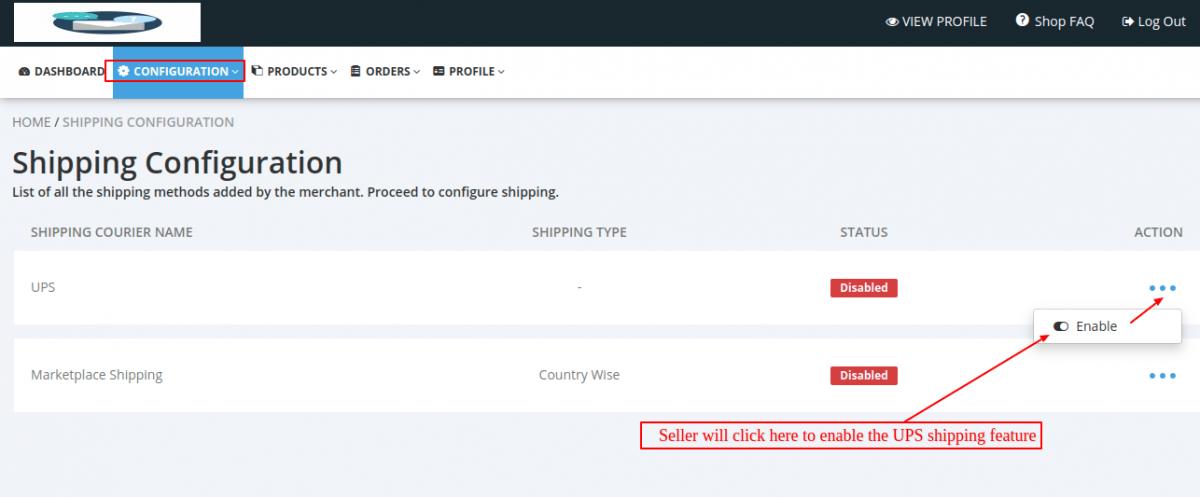 Shipping Configuration