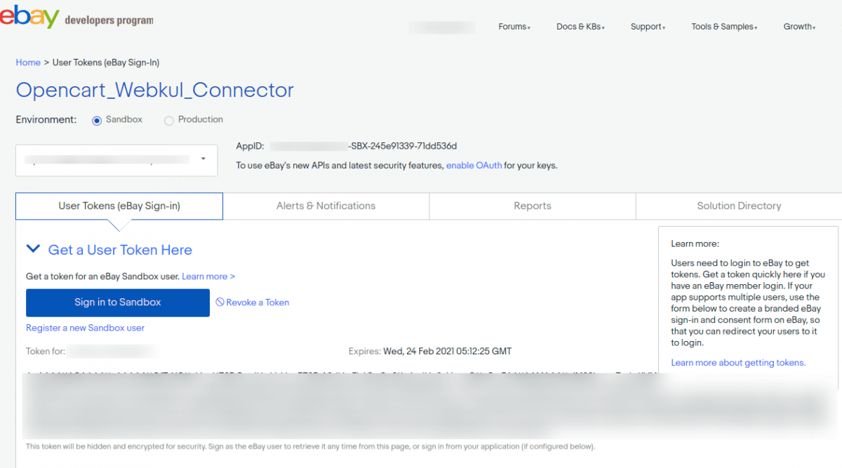 laravel-eCommerce-ebay-connector-token-generate