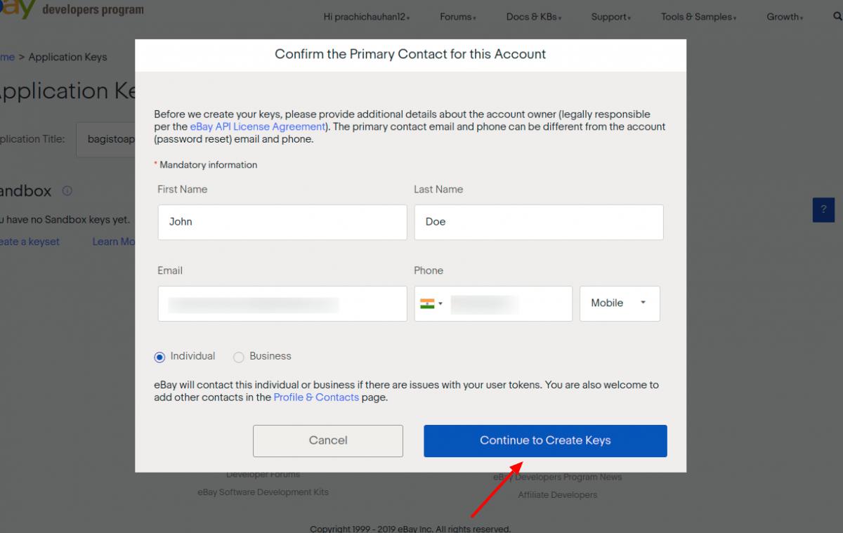 laravel-eCommerce-ebay-connector-Continue-to-Create-Keys