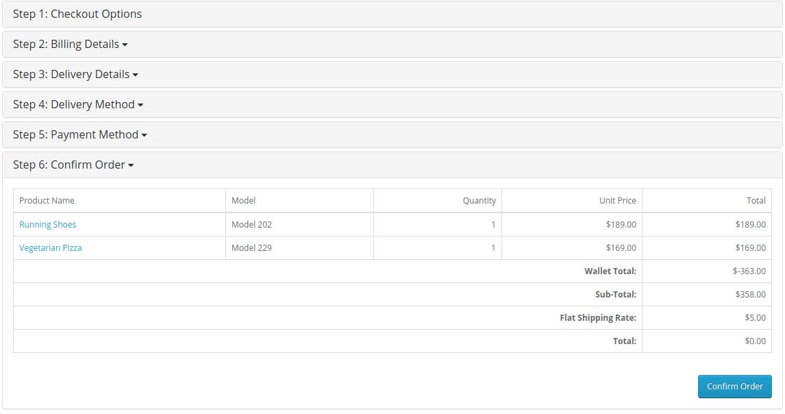 OpenCart Multi-Vendor Wallet System-confirm order