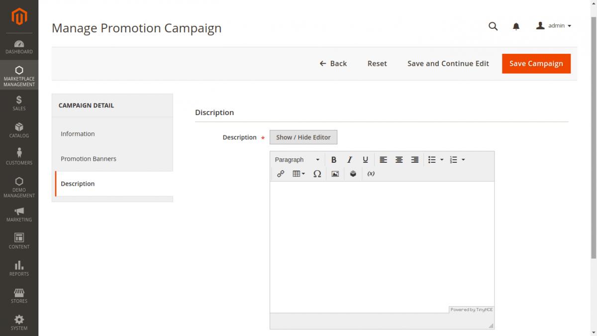 Magento 2 Multivendor Promotion Campaign -add description