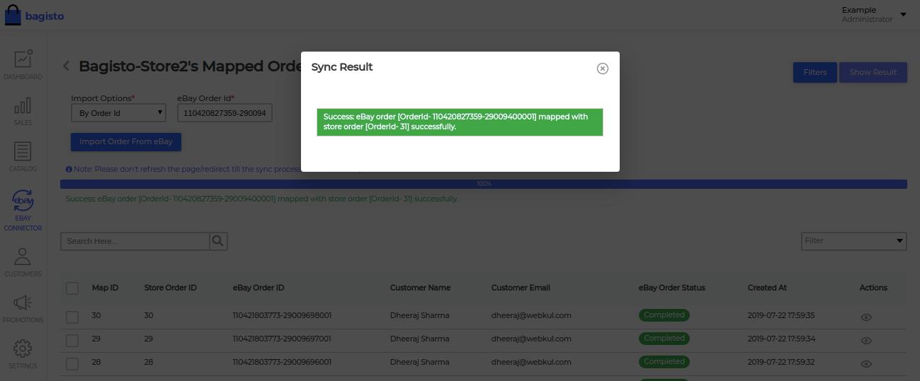 ebay order sync result