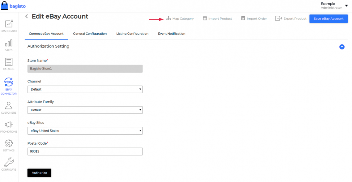 laravel-eCommerce-ebay-connector-click-on-map-category-button