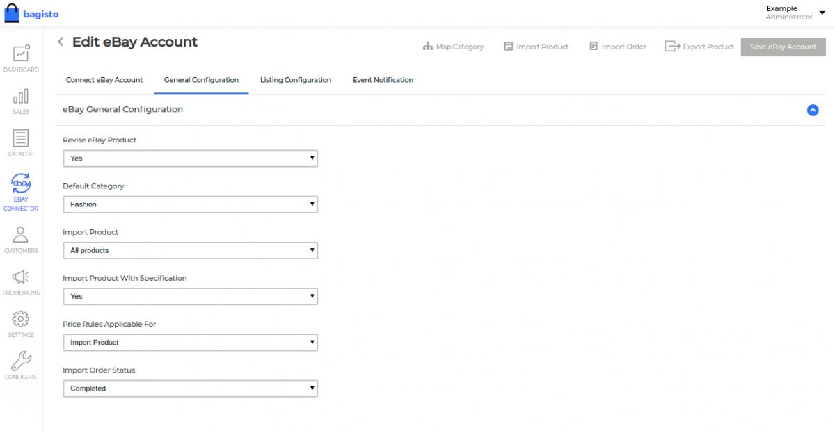 ebay connector general configuration