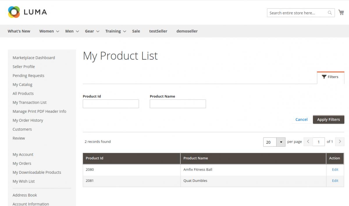 My product list