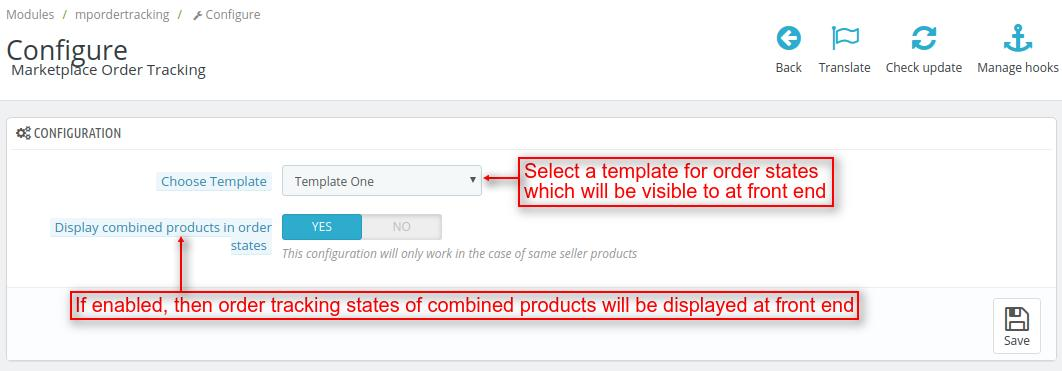 order tracking configuration