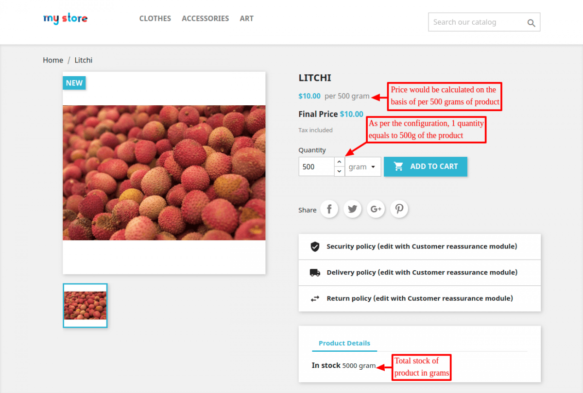 Prestashop multi UOM module added measurement quantity on the product page.
