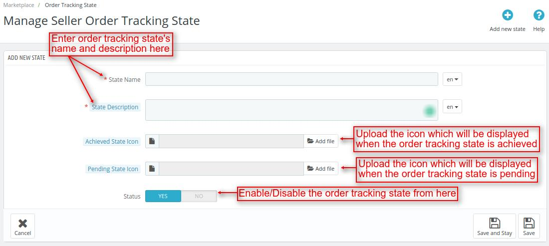 Enter details of new tracking state