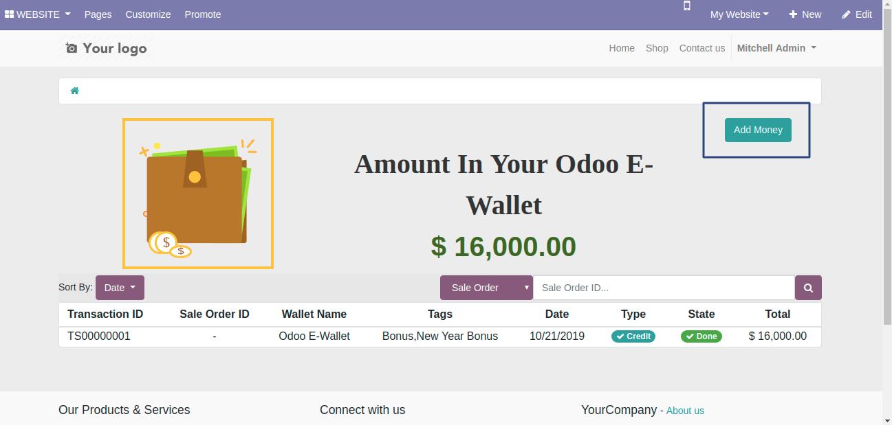 Click on add money