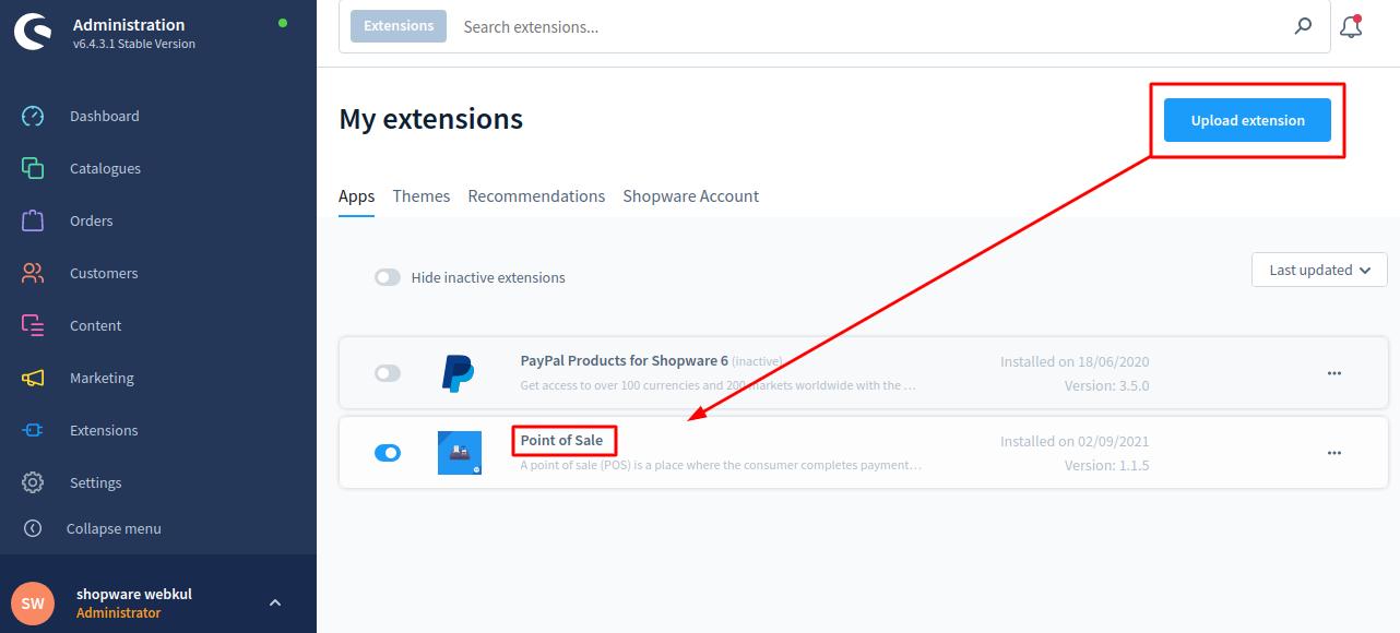Shopware-POS-Install-extension