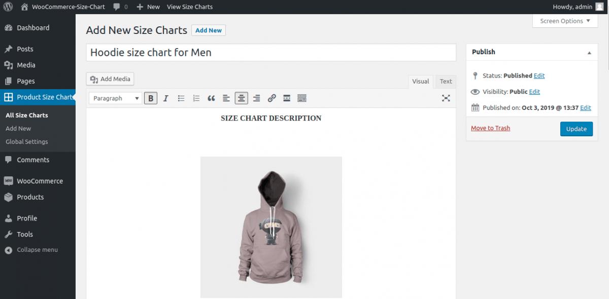 add new size chart