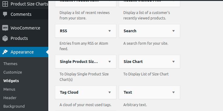 add size chart widget