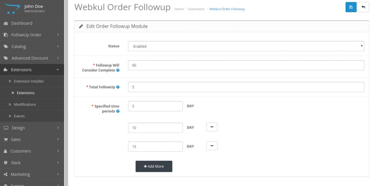 opencart follow up configuration
