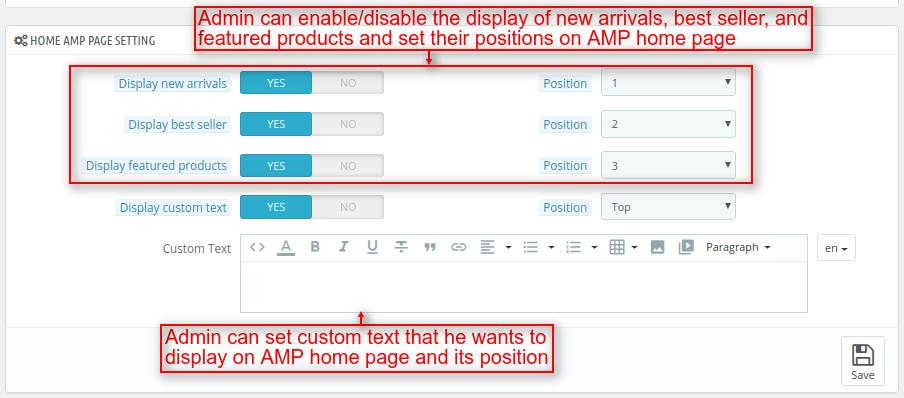 Customize home page of AMP