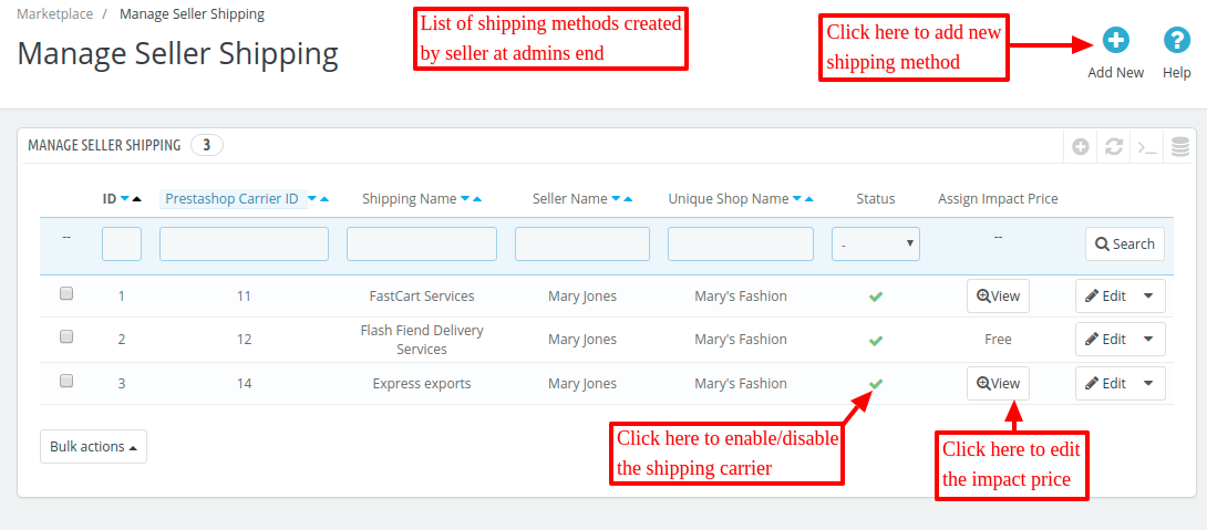 enable/disable shipping carrier
