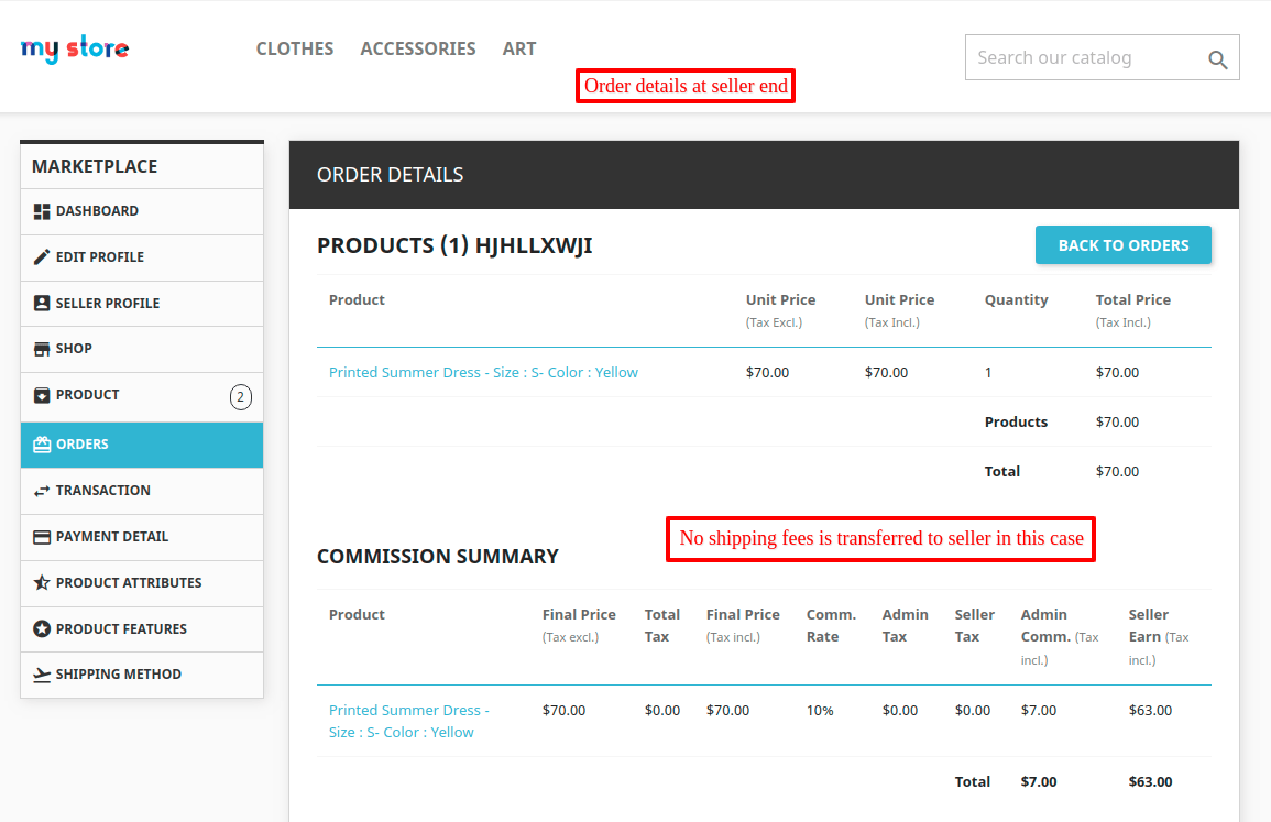 order details page