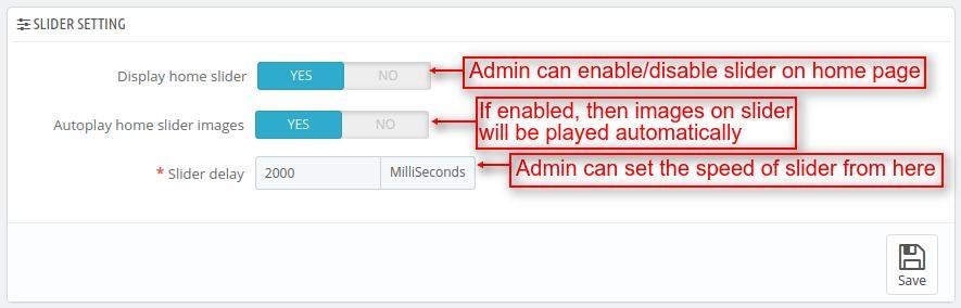 Configure slider settings of AMP
