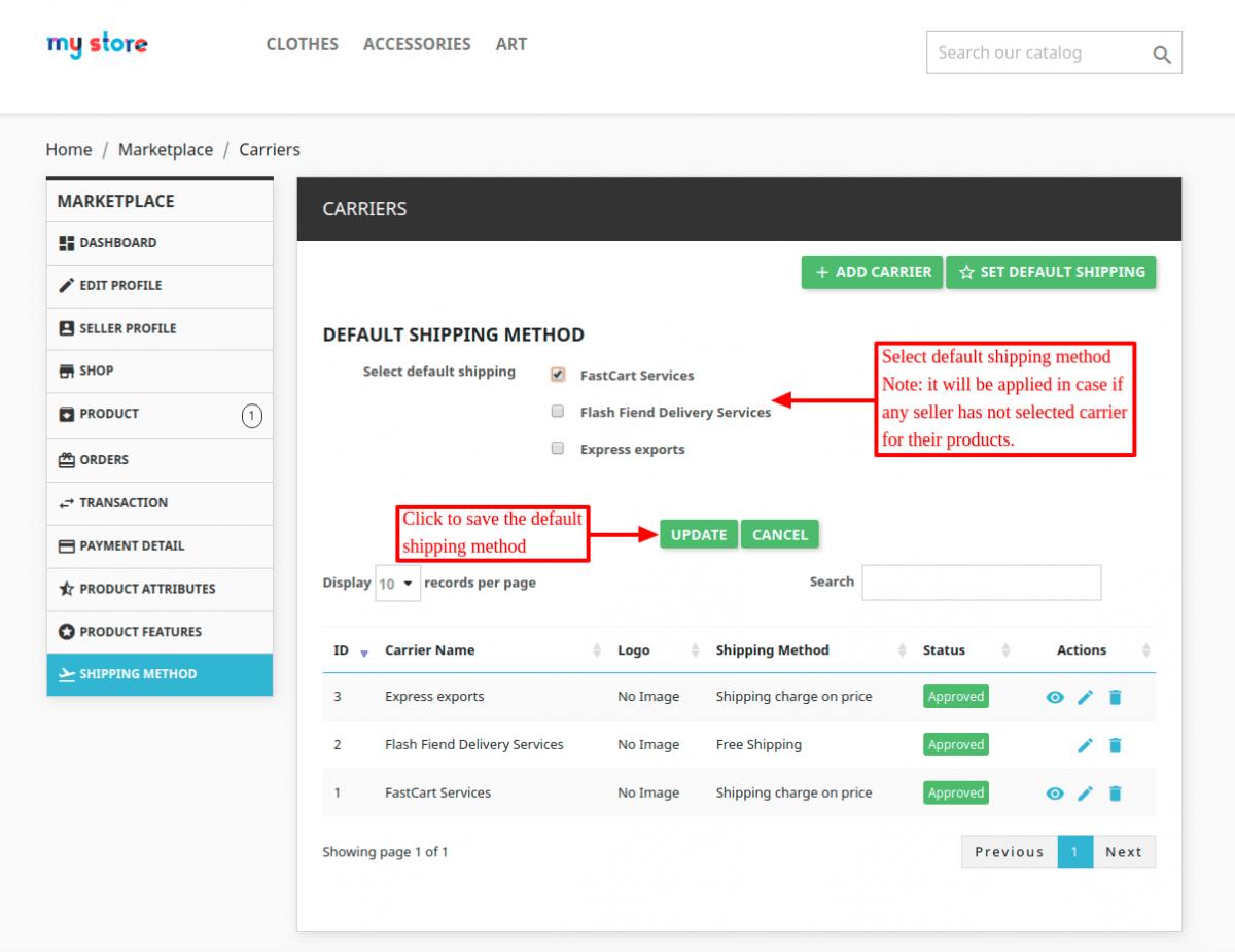 set default shipping method