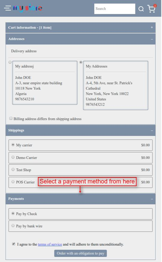 Select payment method & proceed to place the order