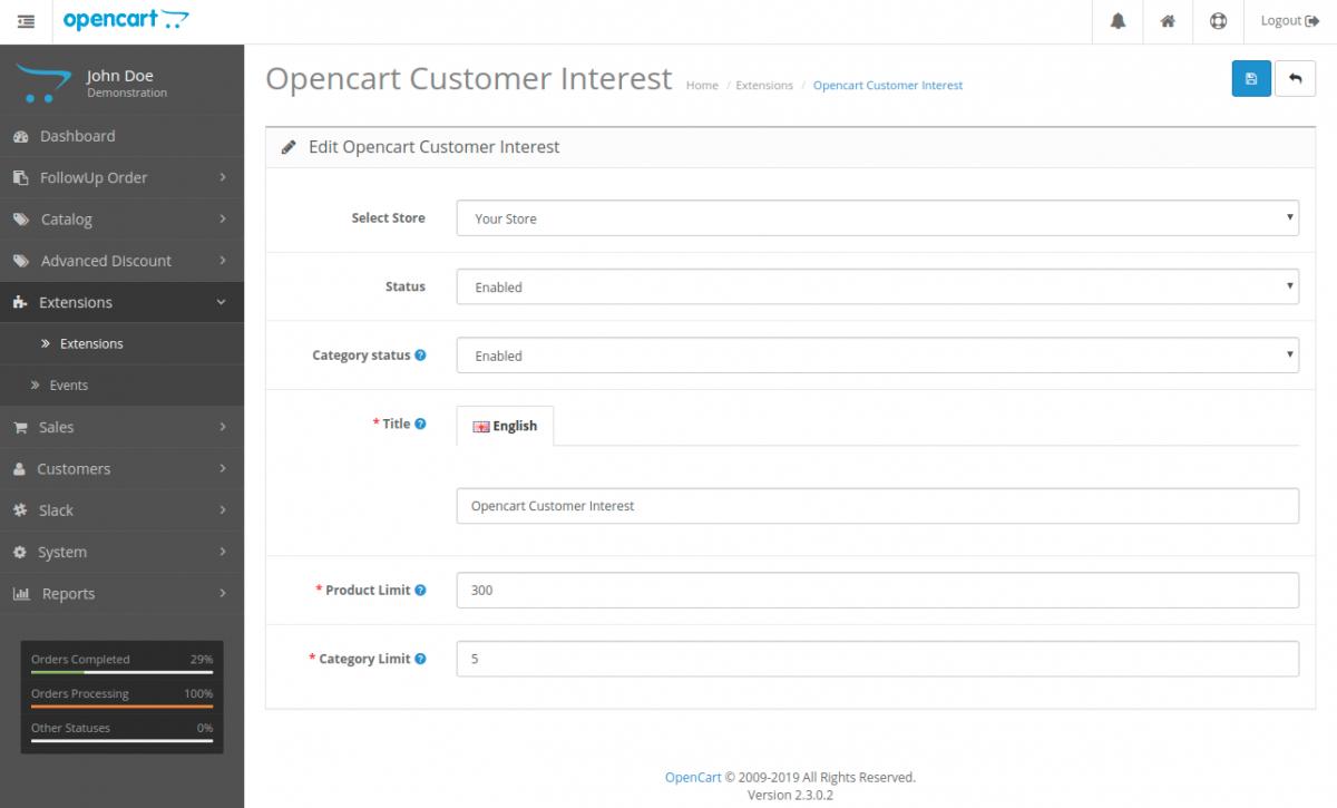 Opencart customer interest admin config