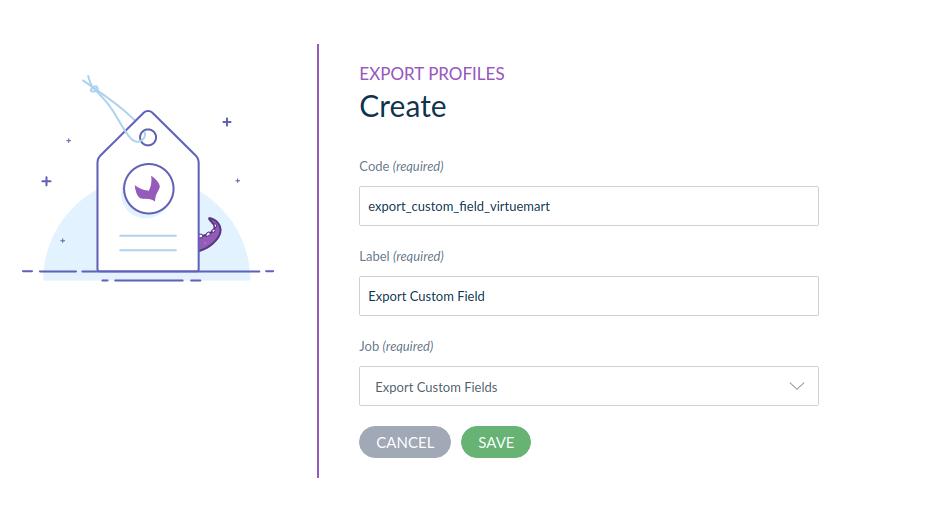 Export profile custom field