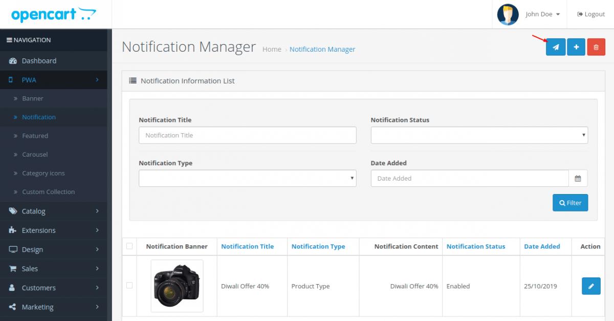 manage notification