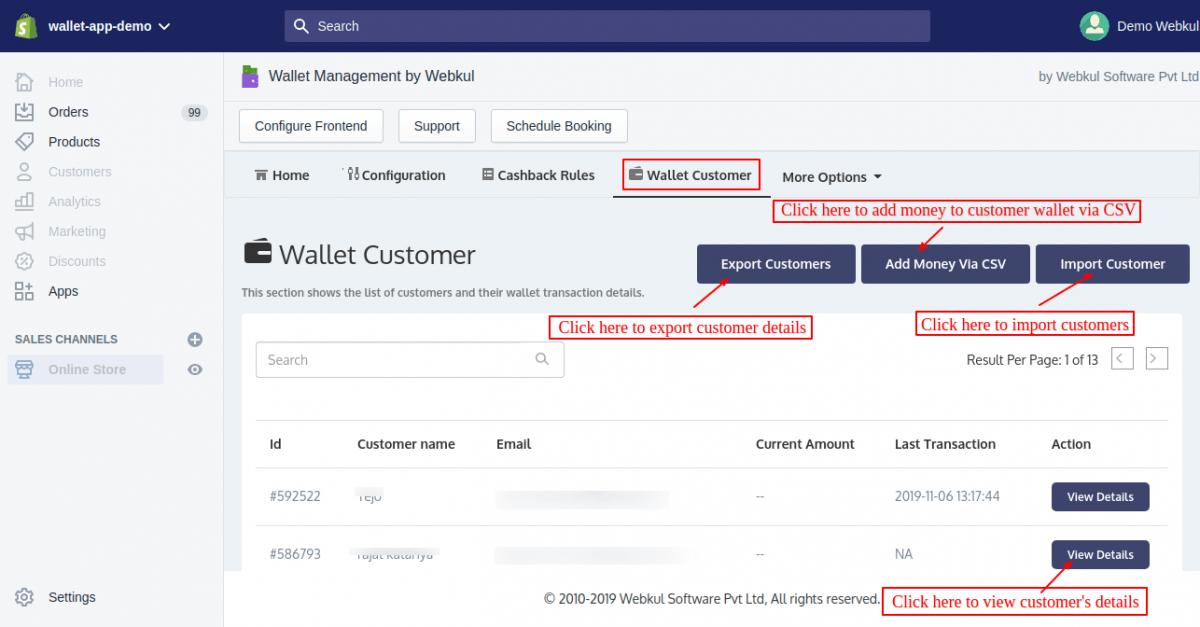wallet customers