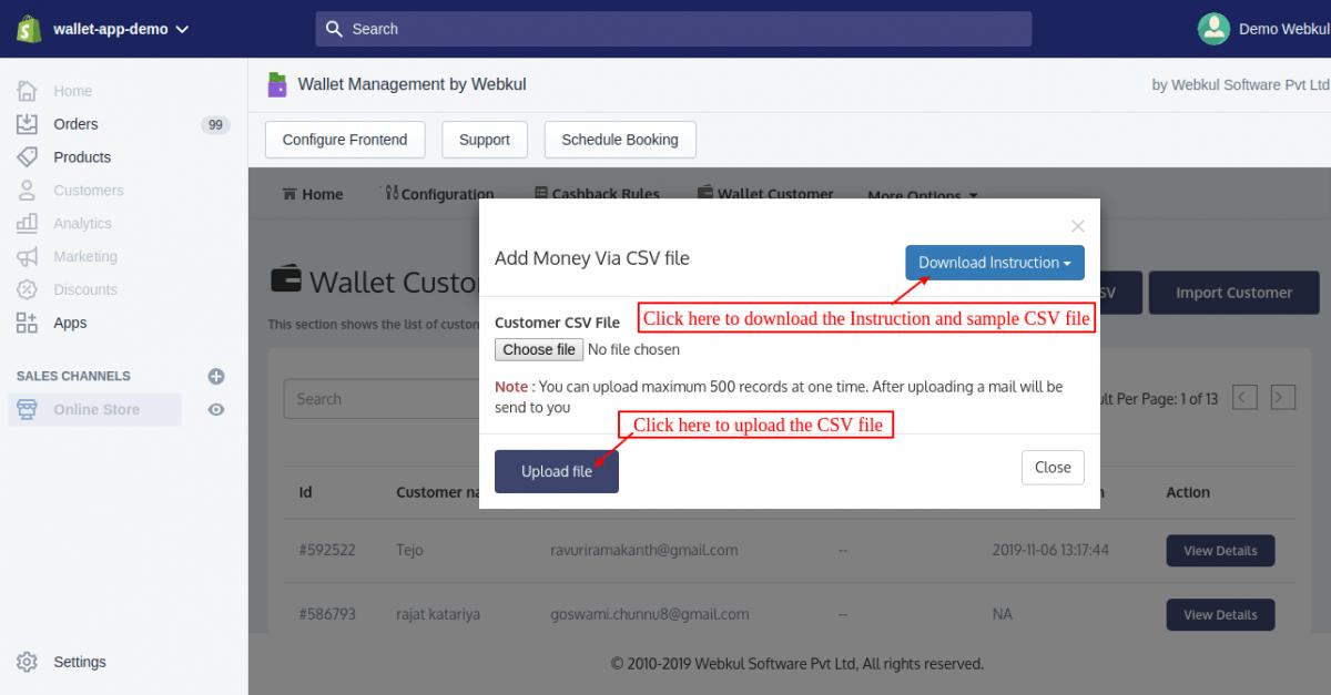 Add money to customer wallet