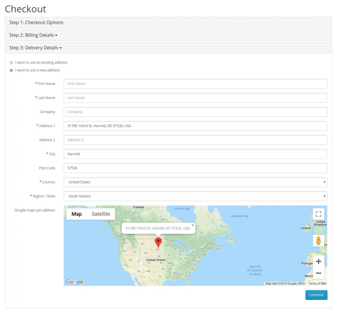 OpenCart - OpenCart Google Maps Pin Address