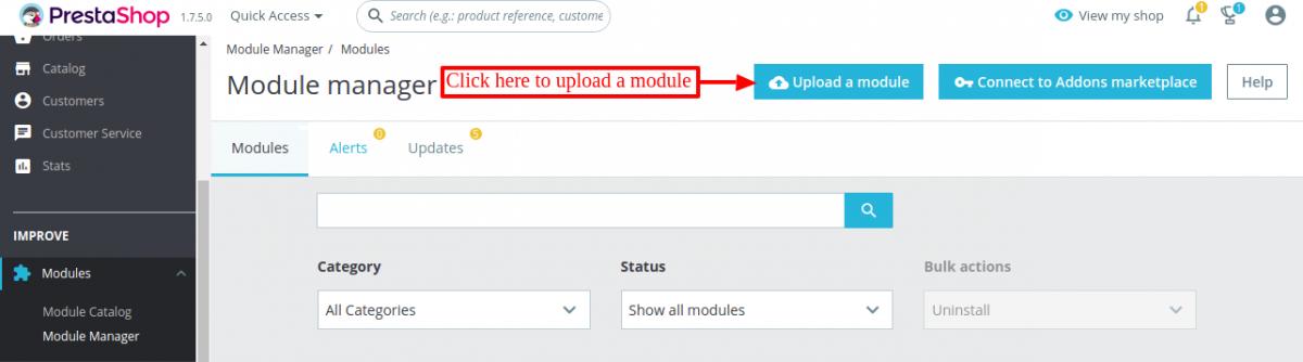 Click to upload Prestashop Marketplace Manufacturer module