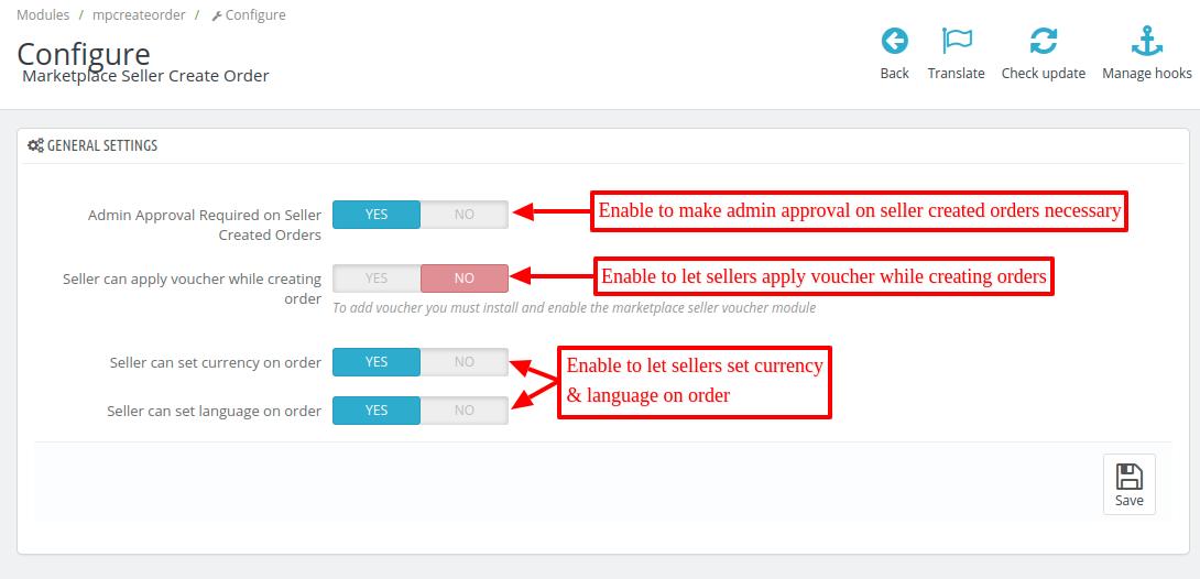 Configure MP seller order create module