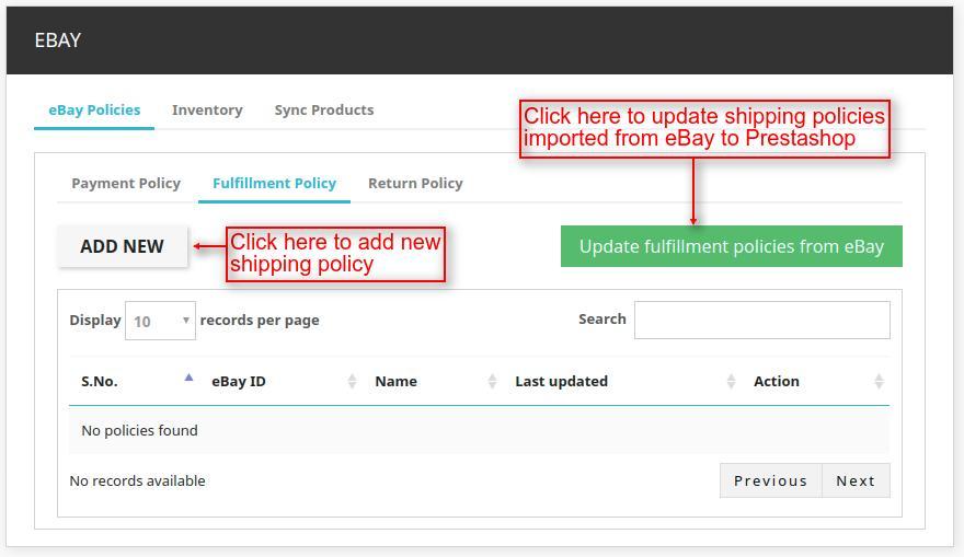 Prestashop Marketplace eBay Connector Fulfilment Policy