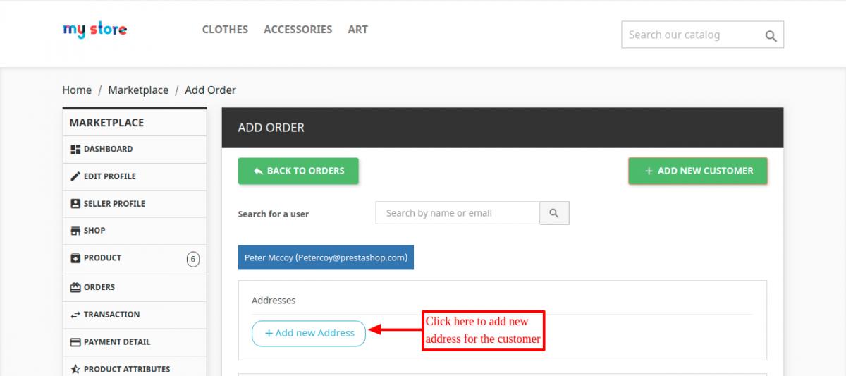 Add new address of the customer