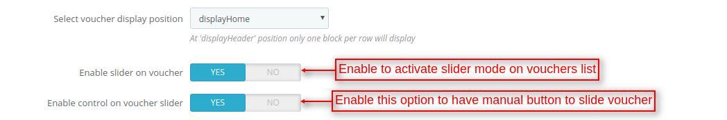 configure display position of voucher