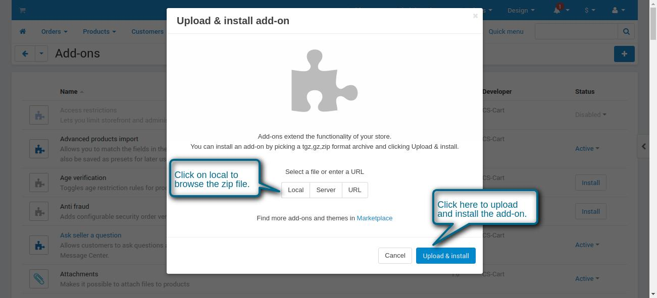 Upload and install the add-on