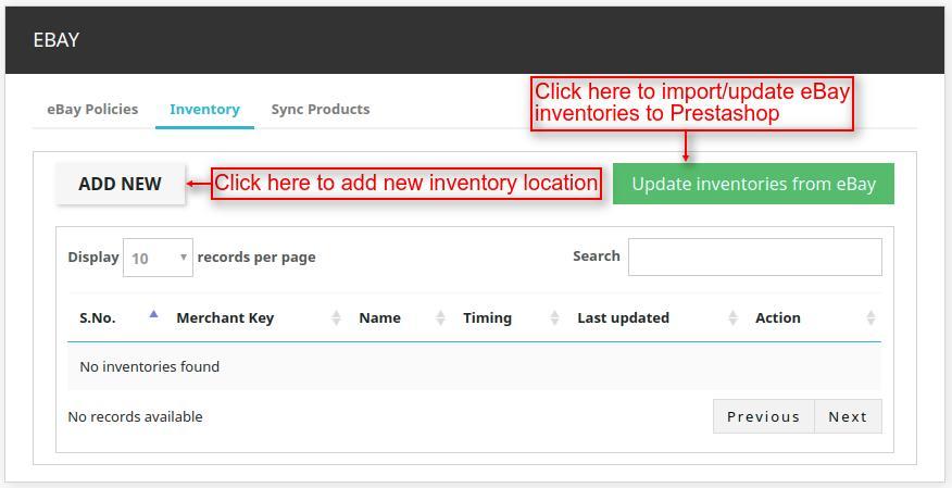 Prestashop Marketplace eBay Connector inventories