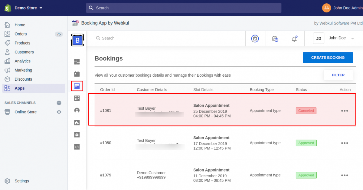 Admin end- Cancel booking