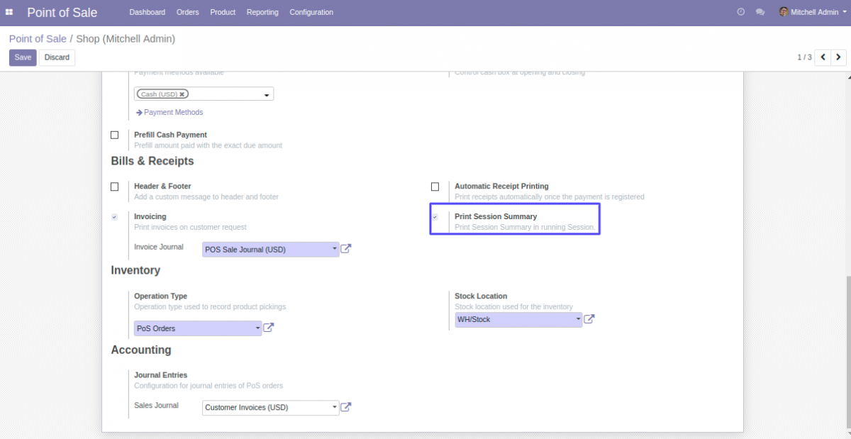 Enable to activate the Print Session Summary feature in POS