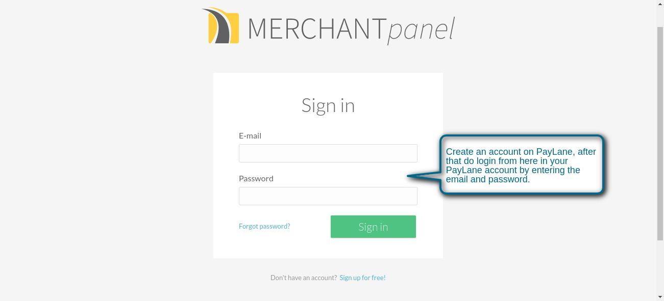 Merchant panel Login image