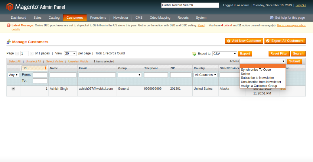 Manual Product Synchronization from Magento to Odoo