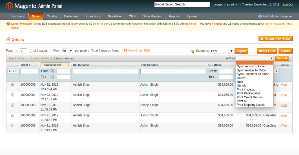 Manual Order Synchronization from Magento to Odoo